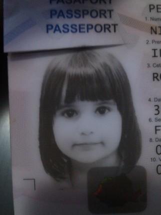 Ilinca, in poza din pasaportul vechi